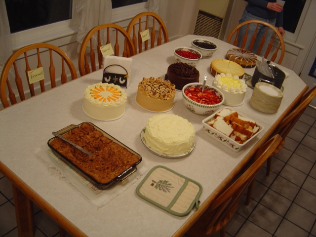 Here you can see the spread at our spring cake feed held in honor of Oscar's birthday.